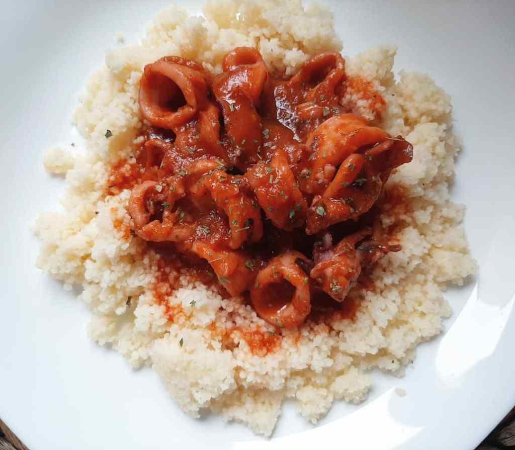 calamares en salsa con cuscús